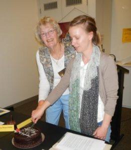 Jennifer Marshall, DTM (left) & ACS Club President, Emma Plint, cutting the Club's 20th Anniversary cake, on 4 September, 2013.