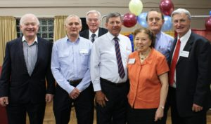 Past and current club members (left-right): John Homewood, Ralph Dowling, Jim Lawson, Greg Coman, Marion Dowling, Steve Funder, and Terry Coman