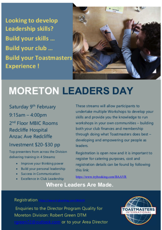 Leaders Day Out - Moreton Division | Toastmasters District 69