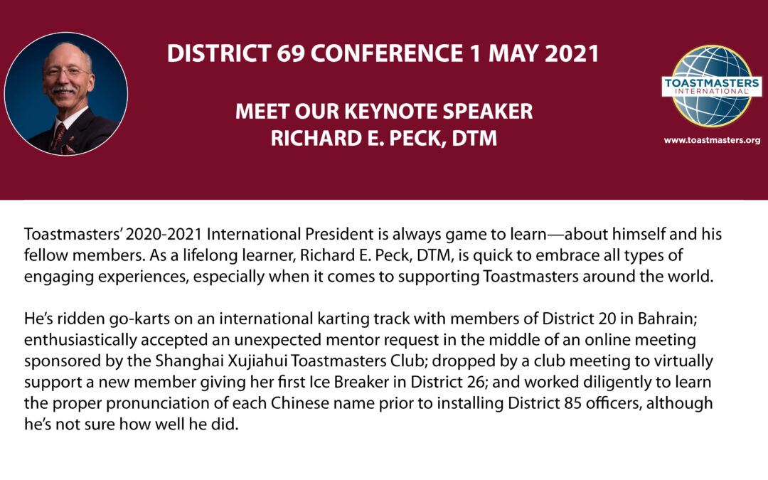 District 69 Conference – Meet our Keynote
